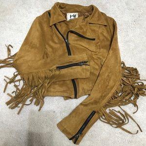 Jackets & Blazers - Coachella Fringe Suede crop moto jacket XS urban